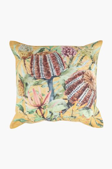 Printed Banskia Feather Scatter Cushion, 60x60cm
