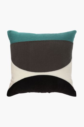 Embroidered Crewel Half Circle Scatter Cushion, 50x50cm