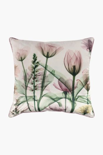 Velvet X-ray Floral Feather Scatter Cushion, 60x60cm