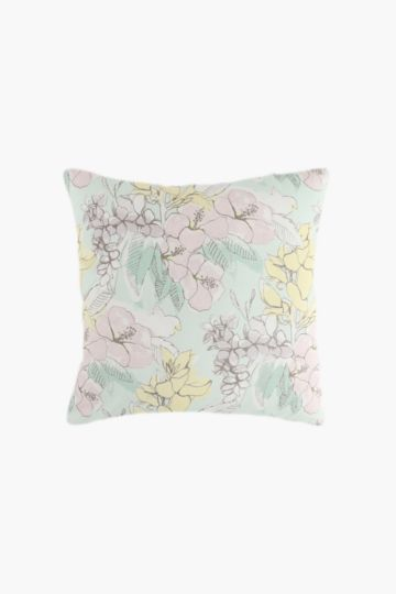 2 Pack Printed Pastel Florals Scatter Cushion Covers, 45x45cm