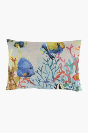 Printed Tropical Fish Scatter Cushion, 55x55cm
