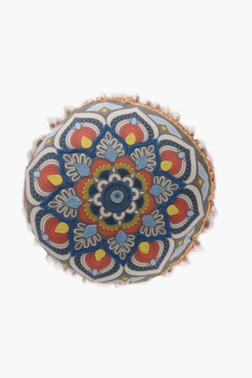 Round Embroidered Medallion 50x50cm Scatter Cushion