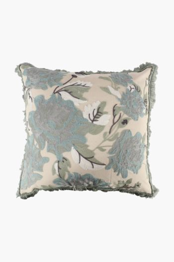 Embroidered Floral And Tassel Scatter Cushion, 60x60cm