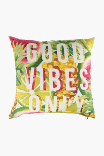 Printed Good Vibes Scatter Cushion, 50x50cm