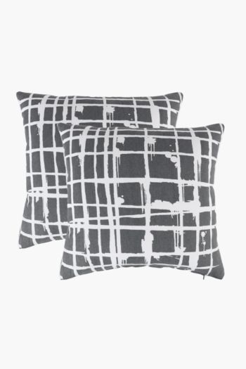 2 Pack Drip Check Scatter Cushion Covers, 45x45cm