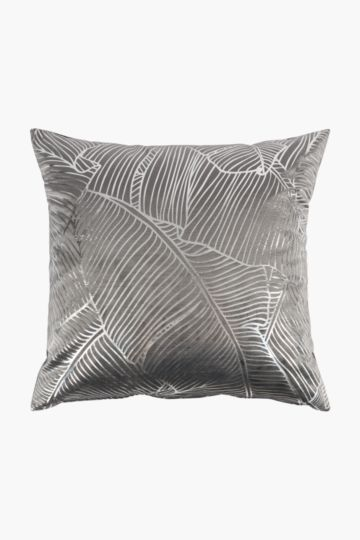 Velvet Foil Leaf Feather Scatter Cushion, 60x60cm