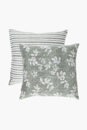 2 Pack Leaf And Stripe Scatter Cushion Covers, 45x45cm