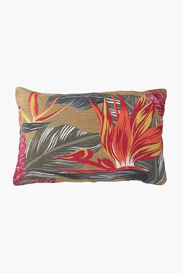 Printed Chenille Strelitzia Scatter Cushion, 40x60cm
