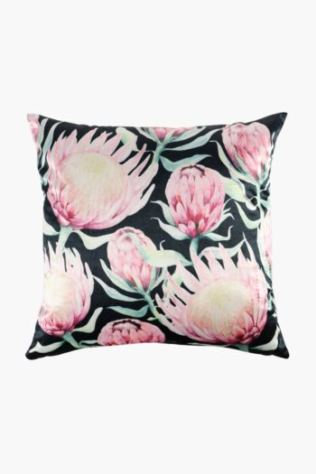 Velvet Protea Scatter Cushion, 50x50cm