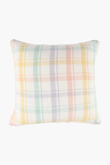 Yarn Dye Pastel Check Scatter Cushion, 50x50cm
