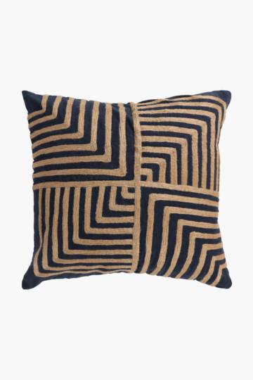 Embroidered Jute Scatter Cushion, 50x50cm
