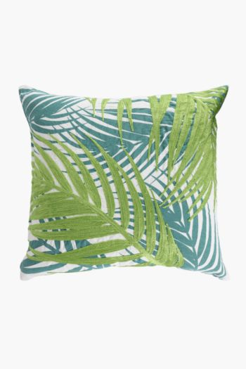 Printed Embroidered Palm Scatter Cushion, 50x50cm
