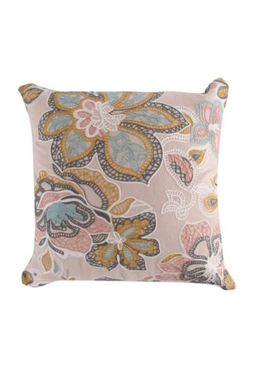 Embroidered Floral Filigree 50x50cm Scatter Cushion