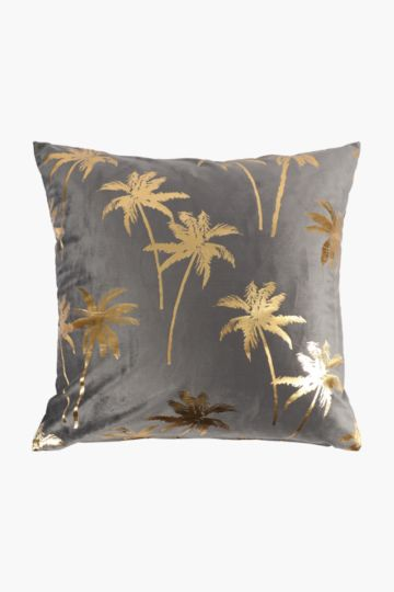 Velvet Foil Palm Feather Scatter Cushion, 60x60cm