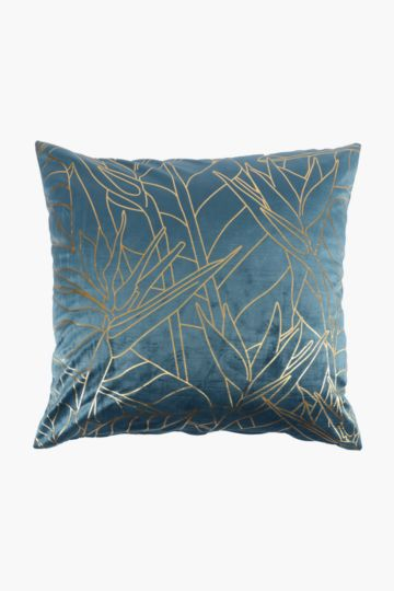 Velvet Foil Paradise Feather Scatter Cushion, 60x60cm