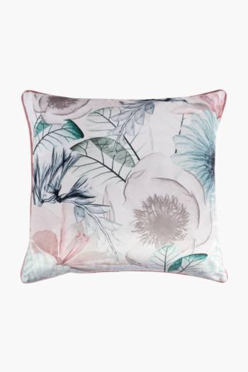 Printed Velvet X Ray Flower Feather Scatter Cushion, 60x60cm