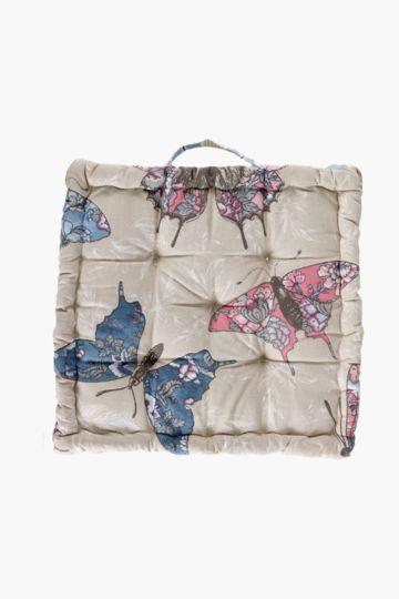 Butterfly Printed Mattress Cushion, 50x50x10cm
