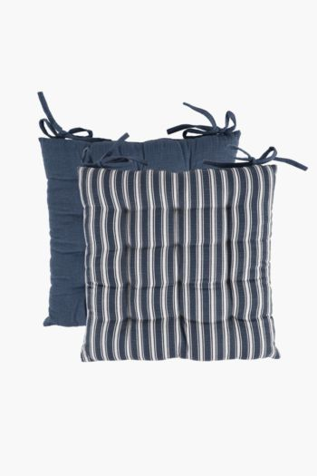 2 Pack Parma Stripe Chair Pad, 40x40cm