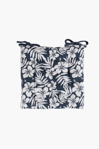 Hibiscus Floral Printed Chair Pad, 40x40cm