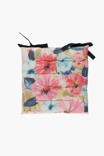 Angelica Floral Print Chair Pad, 40x40cm