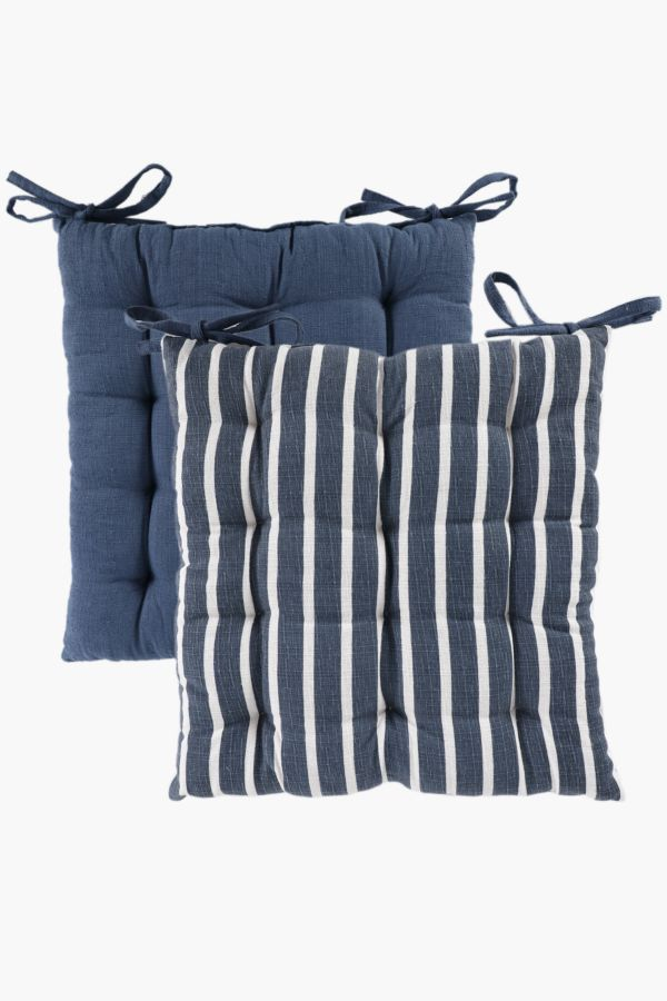 2 Pack Parma Stripe Chair Pad 40x40cm & Outdoor Cushions - Cushions Covers u0026 Inners - Shop Living Room -