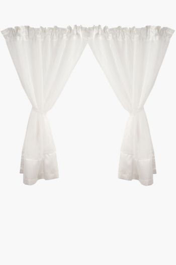 2 Pack Tonal Voile 110x120cm Cafe Curtains