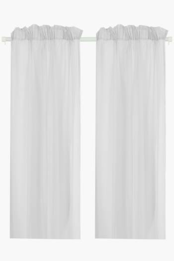 2 Pack Sheer Voile 140x225cm Taped Curtain
