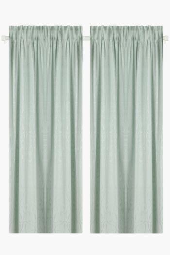 2 Pack Jacquard Leaf Curtain, 230x218cm