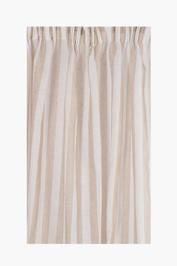 Sheer Slub Stripe Taped Curtain, 230x250cm