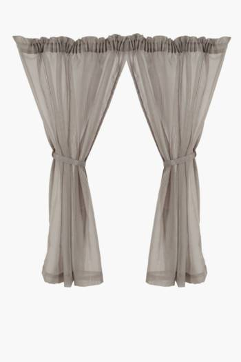 2 Pack Embroidered Stripe Sheer Curtain, 110x120cm