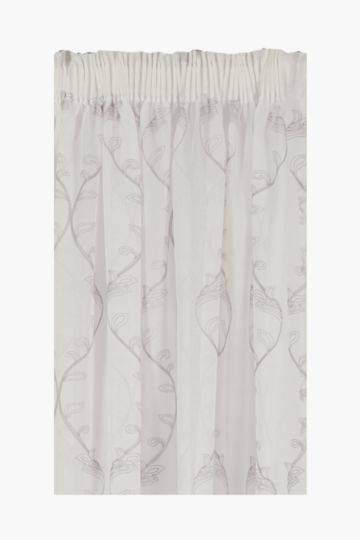 Sheer Crewel Embroidered Taped Curtain, 230x218cm