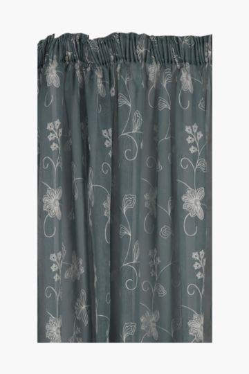 2 Tone Sheer Embroidered Taped Curtain, 230x218cm