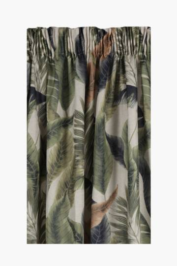 Botanical Leaf Taped Curtain, 270x218cm