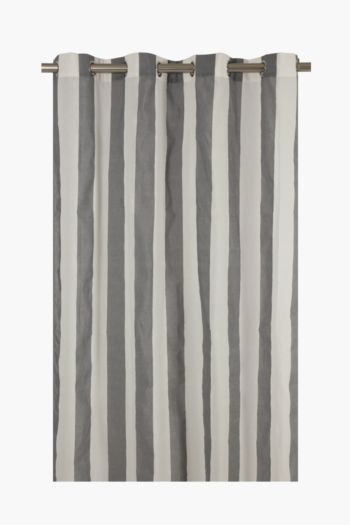 Sheer Yarn Dye Stripe Eyelet Curtain, 145x225cm