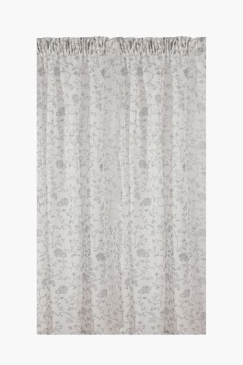 Sheer Printed Jacobean Taped Curtain, 230x218cm