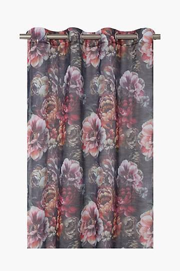 Floral Printed Eyelet Curtain, 140x225cm