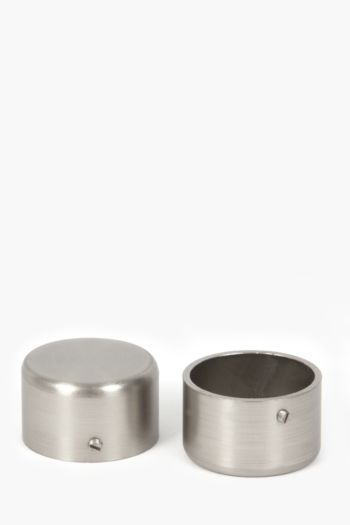 Two Pack Brushed Silver Rod End Caps 35mm