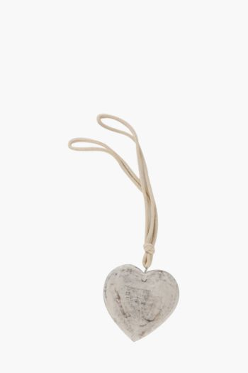Wooden White Wash Heart Tie Back