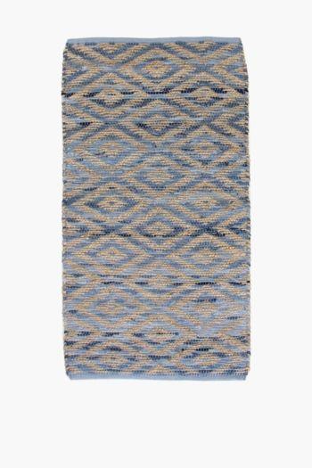 Jute Denim Geometric Rug, 70x140cm