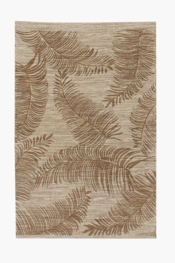 Chenille And Jute Printed Leaf Rug, 60x90cm