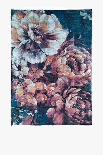 Printed Chenille Floral Garden Rug, 200x300cm