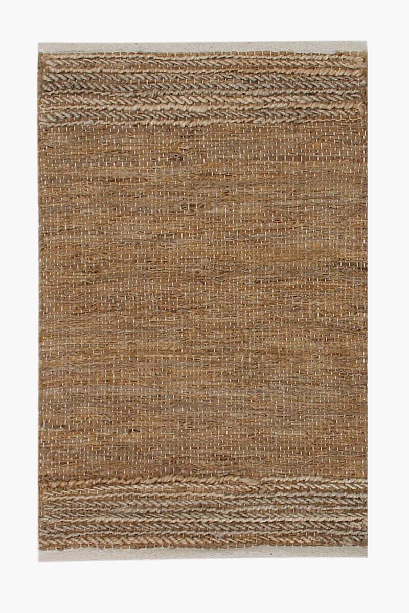 Leather And Jute Plaited Rug 60x90cm