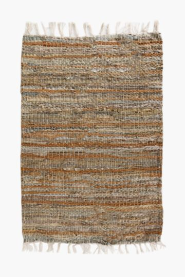 Leather Chindi Rug, 60x90cm