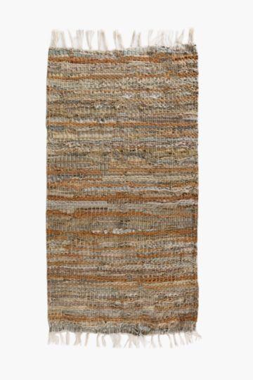 Leather Chindi Rug, 70x200cm