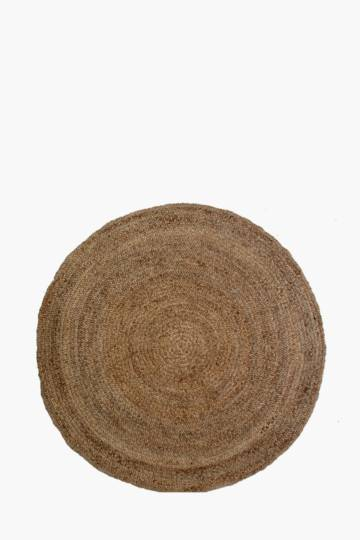 Knotted Jute Braided Round Rug, 180cm
