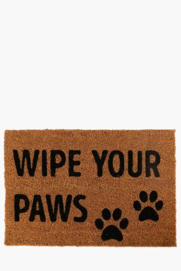 Coir Wipe Your Paws Door Mat, 40x60cm