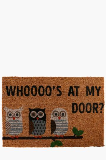 Coir Owl Door Mat, 40x60cm