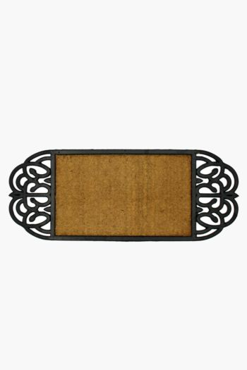 Coir And Rubber Ornate Door Mat, 35x90cm