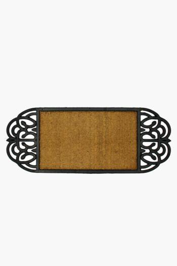 Coir And Rubber Ornate Door Mat, 35x90cm