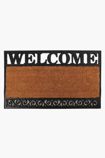 Coir And Rubber Welcome Door Mat, 45x75cm